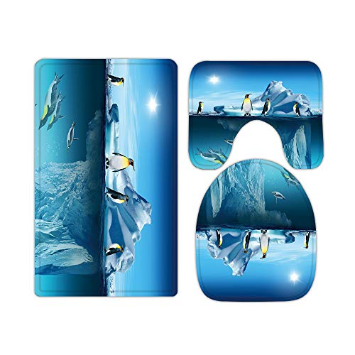 Juego de 3 alfombras y alfombrillas de baño de espuma viscoelástica, diseño de pingüinos en forma de U, antideslizante, absorbente, cubierta de terciopelo lavable