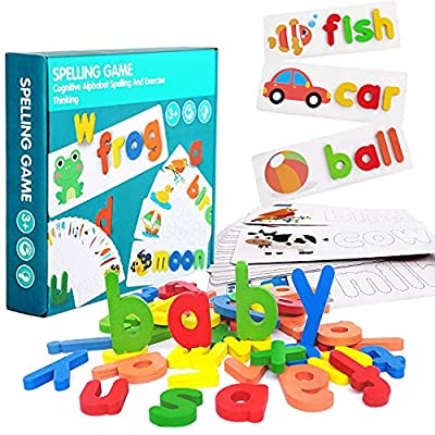 AIVIAI See and Spell Learning Toys Matching Letter Spelling Game Wooden Color Recognition Sight Words Games Preschool Educational Toys Gifts for 3 4 5 6 Year Old Kids Boys and Girls from AIVIAI