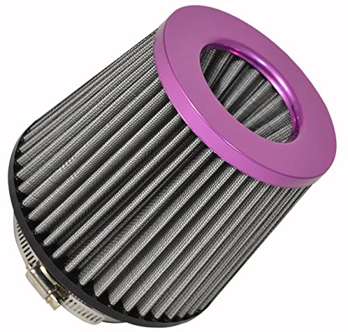AJP Universal JDM Euro High Flow Air Intake Cold Air Ram Turbo Induction Round Dry Mesh Cone Filter Breather (Purple Silver, 4 Inch)