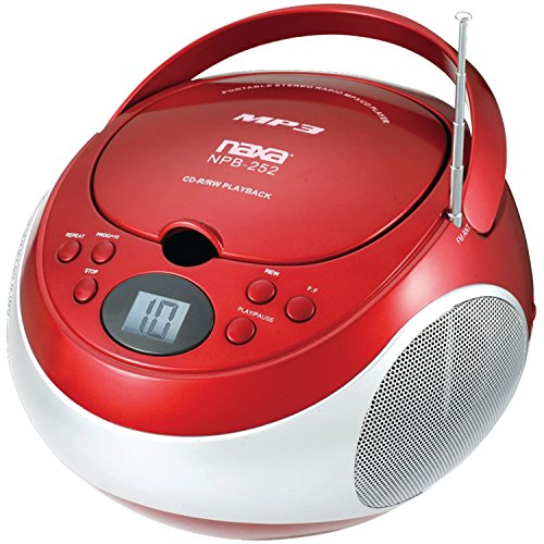 Naxa Electronics NPB252RD Portable CD/Mp3 Players with Am/FM Stereo (Red)