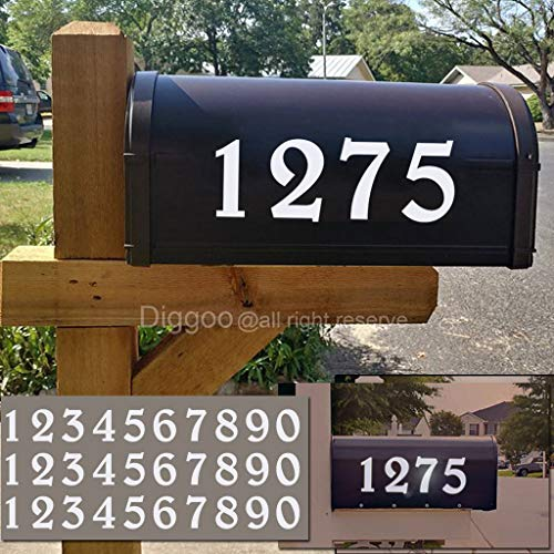 Diggoo Reflective Mailbox Numbers Sticker Decal Die Cut Elegant Style Vinyl Number 3' Self Adhesive 3 Sets for Mailbox, Signs, Window, Door, Cars, Trucks, Home, Business, Address Number