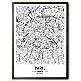 JUNOMI® Póster de París XL, en blanco y negro, DIN A2, decoración moderna para el salón, cuadro de P...