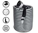 Morvat NEW AND IMPROVED 100 Foot Stainless Steel Garden Hose with Shut-Off Valve, Metal...