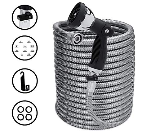 Morvat NEW AND IMPROVED 100 Foot Stainless Steel Garden Hose with Shut-Off Valve, Metal Water Hose...