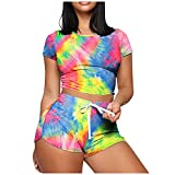 Womens Two Piece Outfits Summer Sexy Tracksuits Crop Top Shorts Set Solid Color Workout Sport Casual Loungewear(AMulticolor,XL)