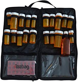 Portable, Lockable, Prescription medication bag, holds 20 various medicine bottles or use for vitamins & supplements, with 3 pockets. Great for travel. With Free 7 day Pillbox organizer by Razbag.