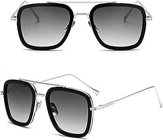 Vintage Sunglasses Square Metal FrameF for Men Women Classic Iron Man Tony Stark Sun Glasses Gradient Flat Lens With bag C...