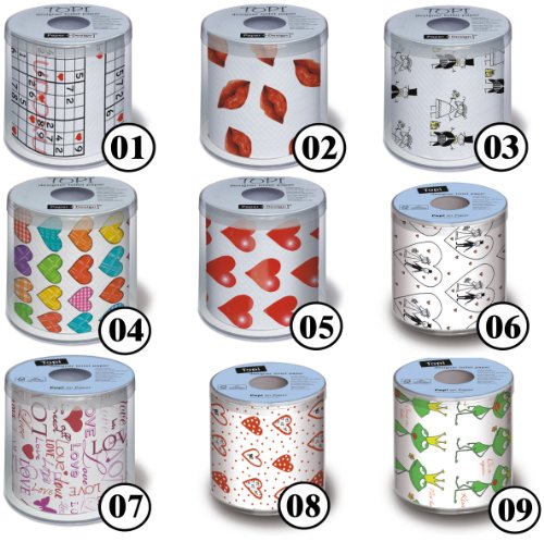 Toilettenpapier Rolle bedruckt Motiv Auswahl möglich Hearts - Herzen