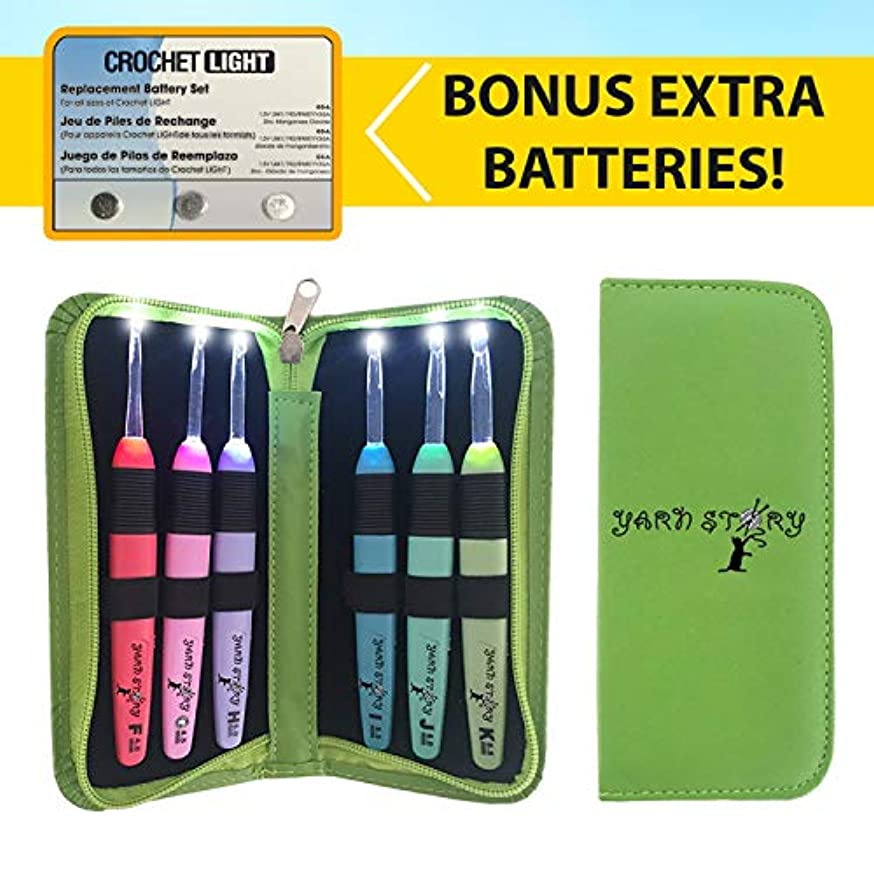 Lighted Crochet Hooks and Case with Replacement Batteries - LED Lite Hooks - Ergonomic Soft Grip Handles & Organizer. Color Coded Set of 6 Hooks for Arthritic Hands - Size 4mm to 6,5mm(Green) fmfirakfkxhpj472