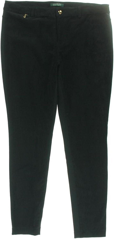 Lauren Ralph Lauren Womens Suede Panel Skinny Pants Black 4