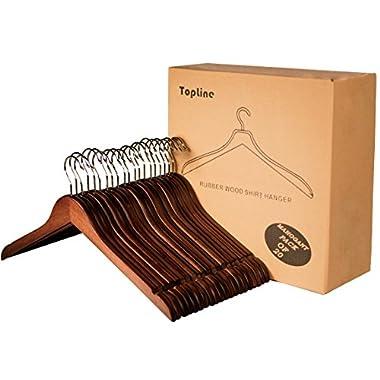 Topline Classic Wood Shirt Hangers - Mahogany Finish (20-Pack)