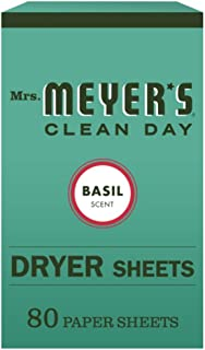 Mrs. Meyer's Clean Day Dryer Sheets, Fabric Softener, Reduces Static, Cruelty Free Formula Infused with Essential Oils, Ba...