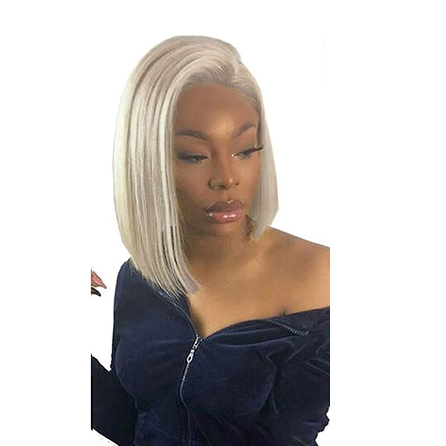 Dowager Blonde 13x6 Front Wig Blue Colored Remy Red Human Hair Full Ends Transparent Frontal Closure Swiss Lace Short Bob Wigs