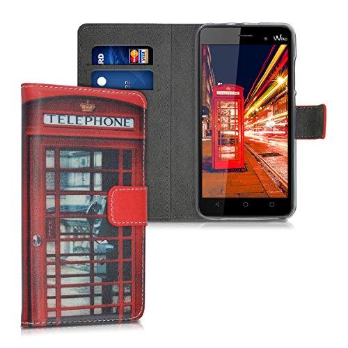 kwmobile Hülle kompatibel mit Wiko Lenny 3 - Kunstleder Wallet Hülle mit Kartenfächern Stand London Handy Rot Schwarz Weiß