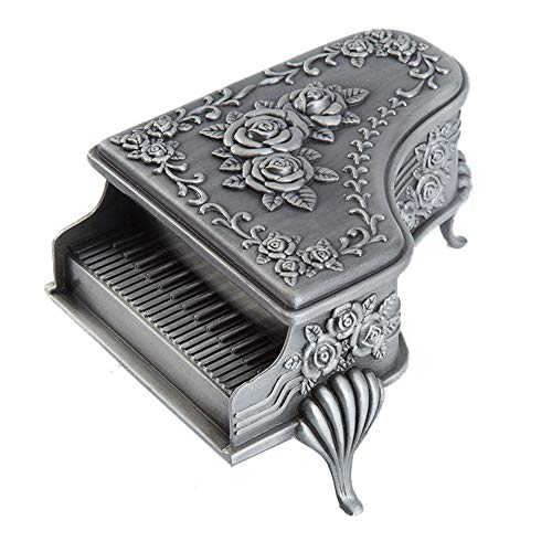 ZHJC Vintage Jewellery Gift Box European Style Luxury Metal Cosmetic Box Piano Jewelry Box Carved Rose Storage Ring Earrings Retro Collector (Color : Silver, Size : 6x8.5x5cm)