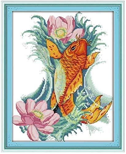 punto de cruz kits adultos Principiantes-Carpa y flores-DIY Bordado Cross Stitch-Artesanía Regalos-arte Pared de decoración-40X50cm (lienzo preimpreso 11CT)