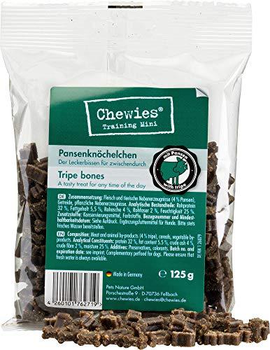 Chewies Hundeleckerli Pansen Knöchelchen - 4 x 125 g - Trainingsleckerli für Hunde - Fleisch Softies ohne Zucker - Hundesnack mit hohem Fleischanteil (500 g)