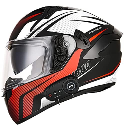 Bluetooth Casco Moto Integral ECE Homologado, Casco de Moto Scooter para Mujer Hombre Adultos con Anti Niebla Doble Visera, Casco Integrado con 1200mA Auriculares Bluetooth