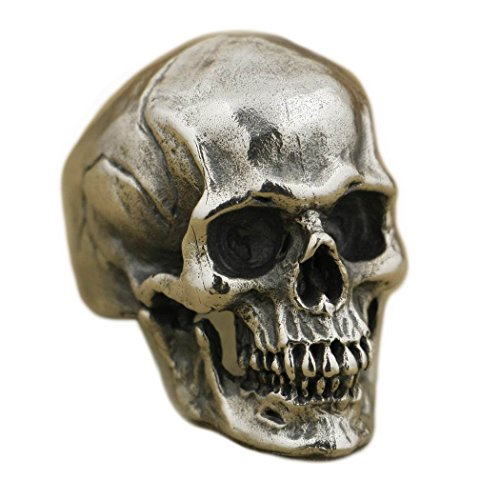 LISNION 925 Sterling Silver High Detail Skull Ring Mens Biker Punk Ring TA50 (Z+4)