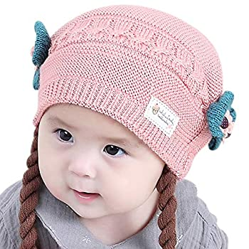IMLECK Toddler Infant Girls Cute Soft Winter Knit Warm Wig Hat with Cotton Lining Light Pink