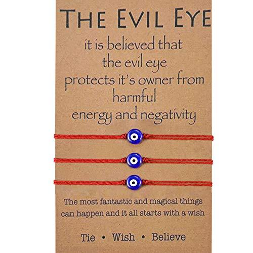 BOCHOI 3 PCS Rojo Pulsera de ojo malvado para mujer, pulsera de buena suerte, pulsera de cábala, protección, deseo de amistad, joyería para niñas, novia, esposa, hija, regalos de cumpleaños