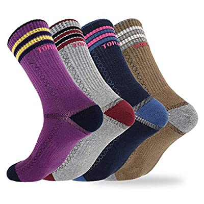 Tom & Mary Women's Cotton Recreation Hiking Socks, Below Calf, Moisture Wicking, Thick Double Cushioned, Lightweight (4 Pairs) (Medium Size 6-9)