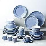 Sunting Geschirrset 6 Personen Blau Tafelservice 36 tlg. Neues Bone China Geschirr Set im Geprägtes Stil mit Rund Speiseteller Suppenteller Dessertteller Müslischüssel Kaffeetassen und Untertassen - 7