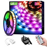 LE 5M LED Strip Lights with Remote, Dimmable, RGB Colour Changing, Stick-on LED