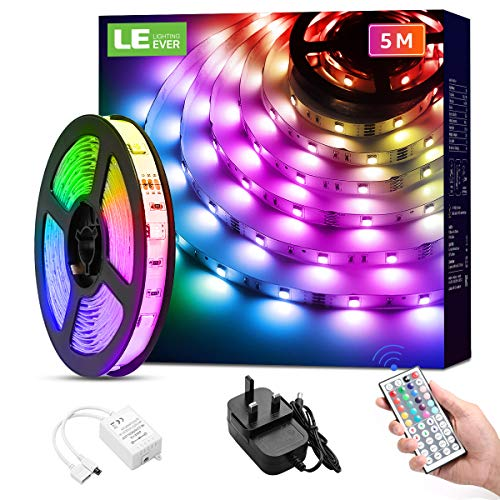 LED Strip Light with Remote 5M, LE Dimmable RGB LED Strips Colour Changing Room Lights, Stick on LED Lights for Bedroom, Kitchen, Kids Room (Plug and Play, 150 Bright 5050 LEDs)