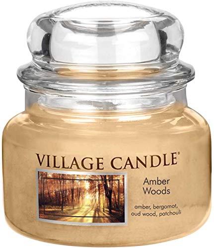 Village Candle Bernsteinholz kleine Duftkerze im Glas, 312 g, beige, 9.7 x 9.5 cm