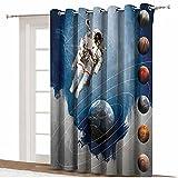 Cortinas opacas para puerta de patio, círculos planetarios con figuras geométricas, Neptune Astral Rocket Vintage impresión térmica aislada con ojales, 8.3 x 7 pies, para dormitorio
