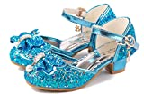 YOGLY Disfraz de Princesa Zapatos de Tacón Alto Fiesta Sandalias para Niñas Brillante Princesa Zapatilla de Baile