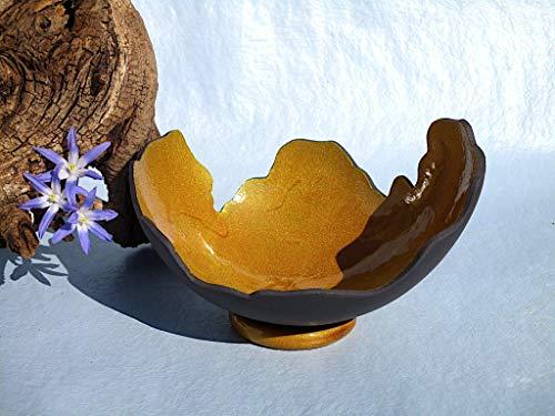 Keramik-Kunstharz-Lichtschale gold, Epoxidharz-Windlicht, Leuchtschale, Kerzenhalter, Kerzen-Schale, Teelicht-Halter, Sonnenfänger im Garten, reine Handarbeit