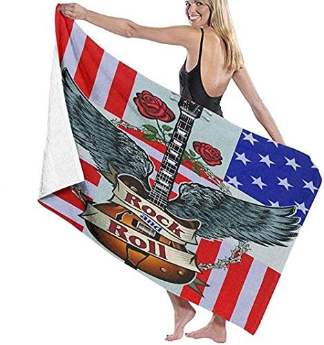 Toalla de Playa Grande 80x130cm,Bandera Americana de los eeuu ,Toalla Microfibra,Suave,Absorbente Viaje Toallas de Mano de Hombres,Niños,Natación,Playa,Camping