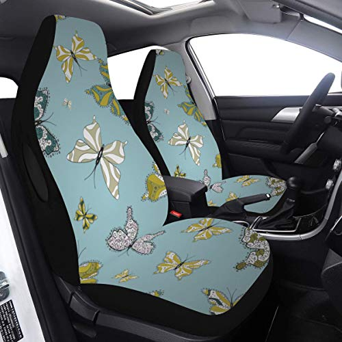 2 Pcs Set Suv Housses de Siège De Voiture Élégant Sky Butterfly Housse De Siège De Voiture Pour Filles Compatible pour Airbags Universel Fit pour Voitures Camions et SUV Housses de Siège Pour Filles