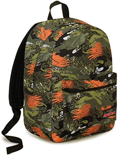Zaino Ischoolpack Seven , ALARY , Camouflage Verde , 27 Lt , Con Power Bank integrato !