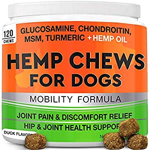 GOODGROWLIES Hemp Hip & Joint Supplement for Dogs Glucosamine, Chondroitin, MSM, Turmeric, Hemp Seed Oil & Hemp Protein for Joint Pain Relief & Mobility 120 Soft Chews