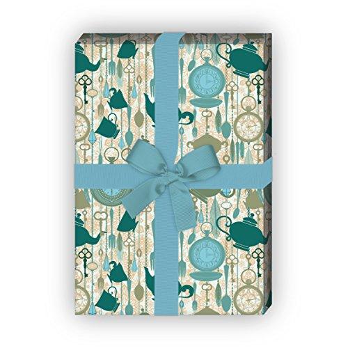 Kartenkaufrausch Set 4 vellen: betoverende theepot Wonderland cadeaupapier, decoratiepapier, patroonpapier om in te pakken met horloges, groen, voor edele geschenkverpakking, designpapier 32 x 48 cm