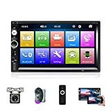 Double Din Car Stereo with Bluetooth and Backup Camera 7 Inch Touch Screen Car Audio Receivers Support DVR/SWC/FM/Remote Control/USB/TF Card/Mirror Link for Android and iOS Phone