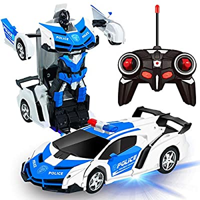 AMENON Remote Control Transform Car Robot Toy with Lights Deformation RC Car 2.4Ghz 1:18 Rechargeable 360°Rotating Stunt Race Car Toys for Kids Boys Girls Age 6 7 8 9 10 11 Year Old Birthday Gift