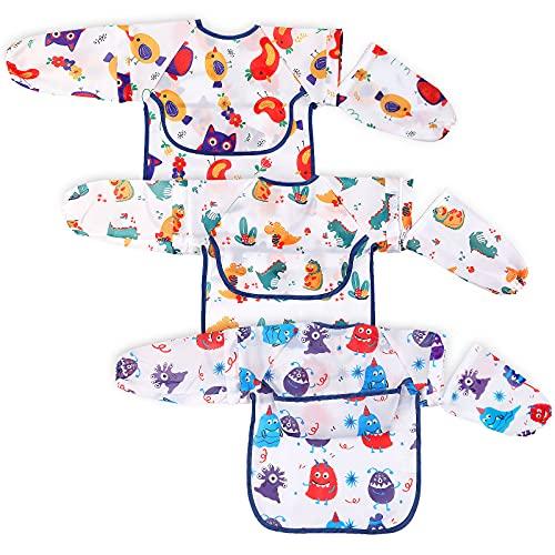 Lictin Baberos Bebe Impermeables-3pcs Baberos Bebes con Mangas Larga Impermeables Desmontables con Escote Ajustable para Niños Niñas de 0-24 Meses