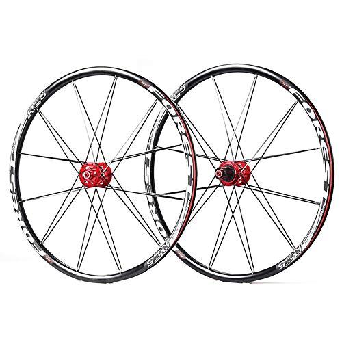 BESTSL Juego de Ruedas de Bicicleta de Montaña, Juego de Ruedas MTB de 26/27.5 Pulgadas (Delantero + Trasero) Llanta de Aluminio Ultraligera Freno de Disco 7-10s,Red-27.5'