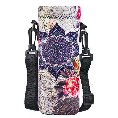 AORTDES Water Bottle Sling Case Bag Carrier Holder - 500ML/16.9oz Neoprene Water Bottle Sleeve Strap Cooler Cover Pouch for Men Women Kids Travel Camping Walking Hiking Running(Dreamcatcher & Flower)