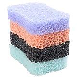 HEALIFTY 4 Stücke Badeschwamm Natürliche Peeling Scrubber Weiche Dusche Schwamm Pads für Männer Frauen (Lila Schwarz Blau Orange)