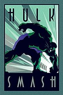 POSTER STOP ONLINE The Incredible Hulk - Marvel Comics Poster/Print (Art Deco Design) (Hulk Smash) (Size: 24