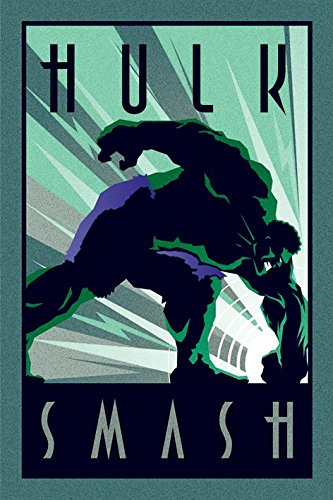 POSTER STOP ONLINE The Incredible Hulk - Marvel Comics Poster/Print (Art Deco Design) (Hulk Smash) (Size 24' x 36')