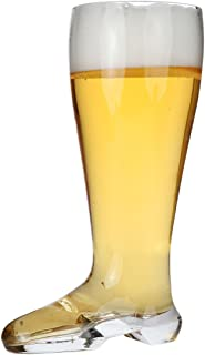 Lily's Home Das Boot Oktoberfest Beer Stein Glass, Great for Restaurants, Beer Gardens, and Parties, Funny Bachelor Party Gift, Jackboot Style, King Size (2 Liter Capacity, 12