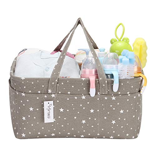 Hinwo Baby Windel Caddy 3-Compartment Infant Nursery Tote Aufbewahrungsbehälter Tragbare Organizer Neugeborenen Dusche Geschenkkorb mit abnehmbarem Teiler 10 unsichtbaren Taschen für Windeln (Stars)
