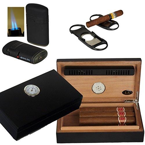 Lifestyle-Ambiente LA Humidor - Geschenkset Black Edition Polymerbefeuchter, Cutter, Feuerzeug Tastingbogen