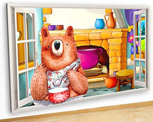 Wandaufkleber Bear Porridge Kitchen Food Canvas Picture Poster Wall Art 3D Stickers Room